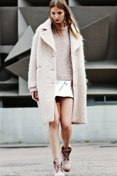 boucle coat beige boots