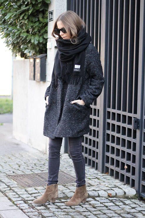 boucle coat grey black