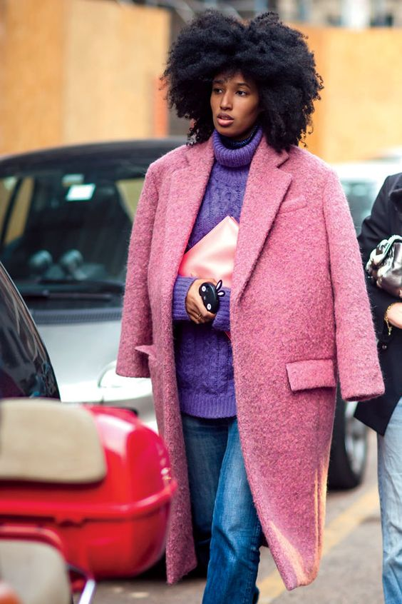 boucle coat pink purple