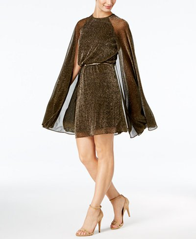 brown belted semi sheer cape dress