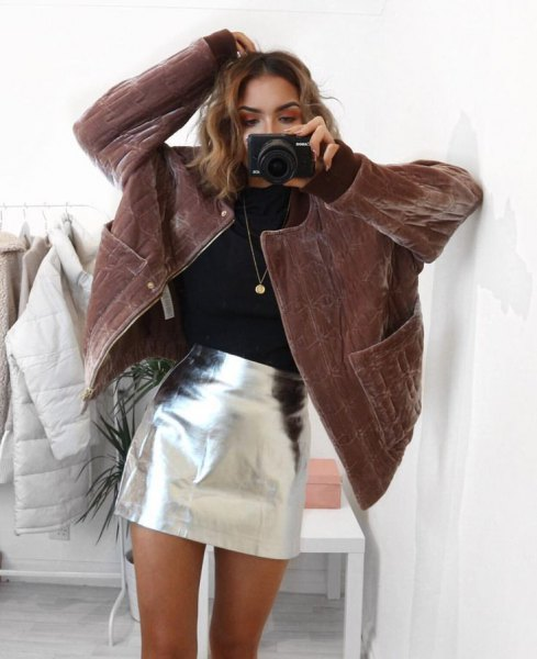 brown corduroy coat silver mini skirt