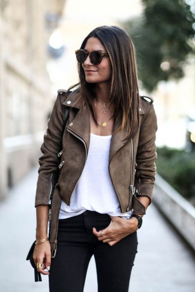 brown moto suede jacket white scoop neck vest top
