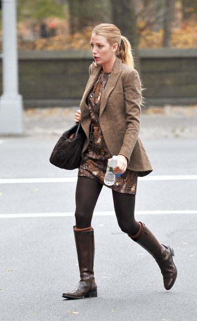 brown riding boots blake lively
