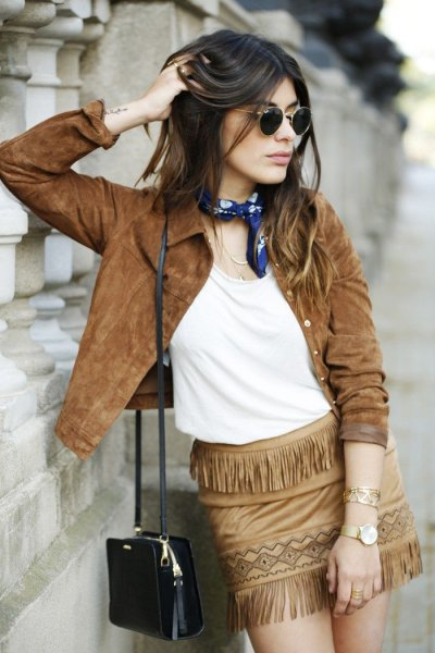 brown suede jacket fringe mini skirt