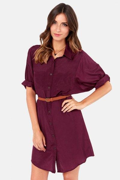 burgundy belted shirt dress