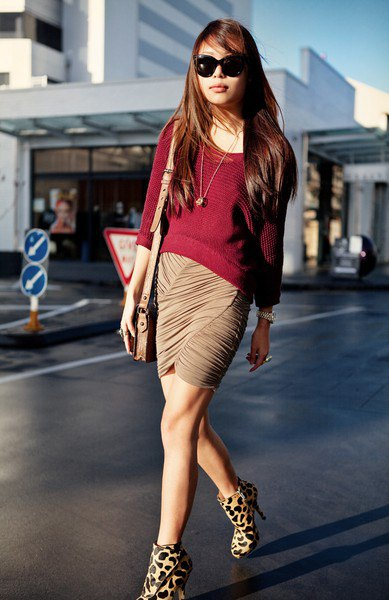 burgundy boat neck sweater leopard print heeled ankle boots