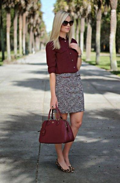 burgundy button up shirt tweed pencil skirt