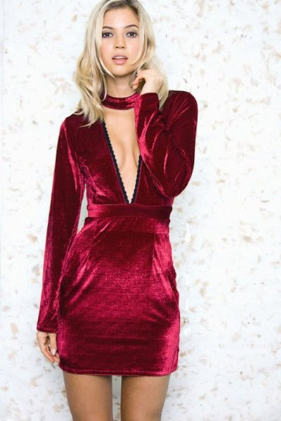 burgundy gathered waist deep v neck velvet dress
