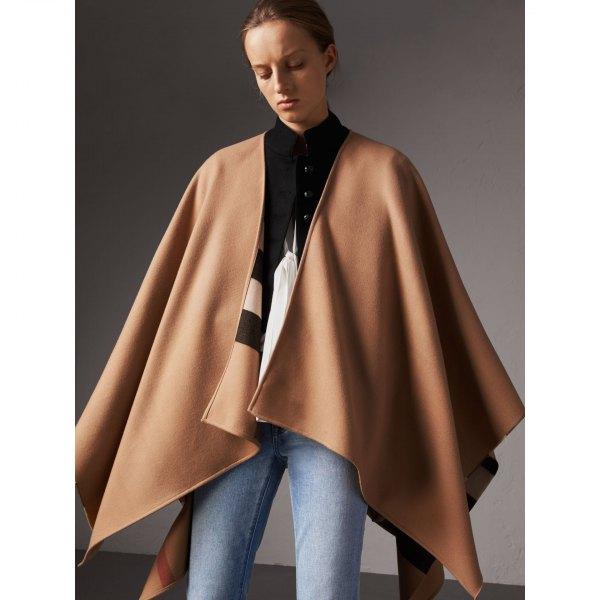 camel wool poncho black button up shirt