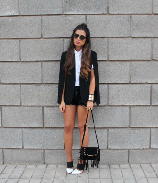 cape coat white shirt black denim shorts