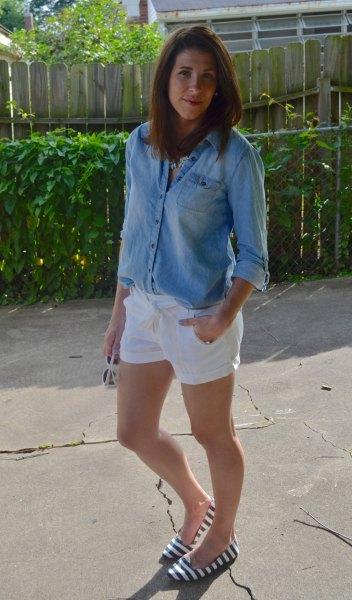 chambray button up shirt white linen shorts