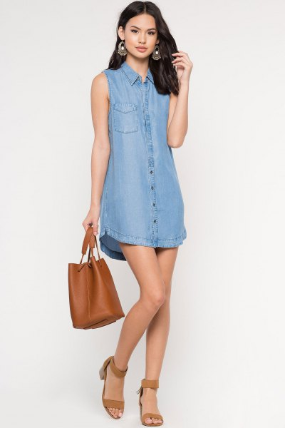 chambray dress with brown ankle strap open toe heels