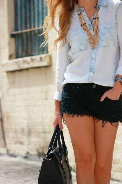 chambray shirt black fringe denim shorts