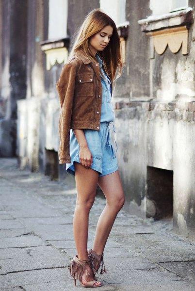chambray shirt matching mini shorts