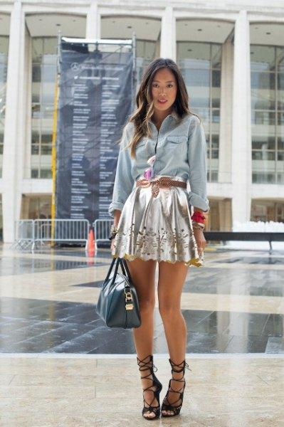 chambray shirt silver floral skater skirt