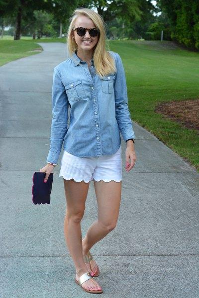 chambray shirt white scalloped shorts