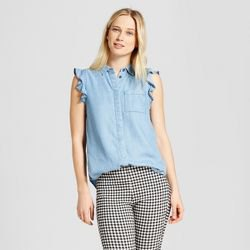 chambray sleeveless ruffle shirt black and white plaid skinny pants