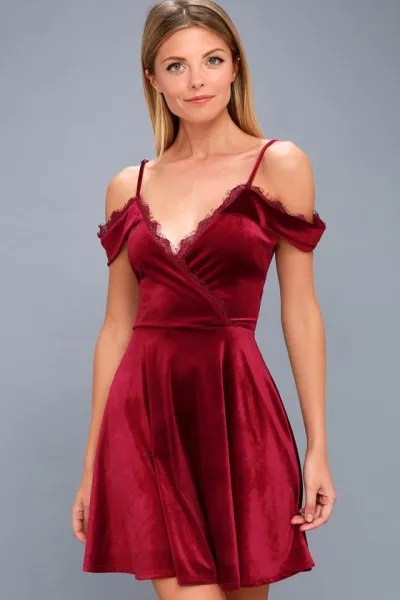 cold shoulder deep v neck red velvet dress