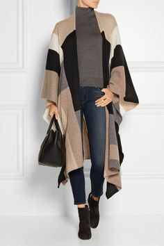 color block long cashmere wrap grey turtleneck sweater
