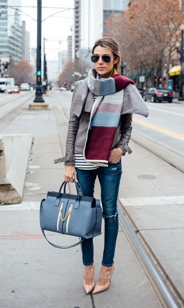 color block scarf blue skinny jeans