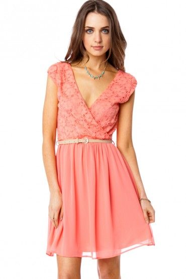 coral prom dress casual