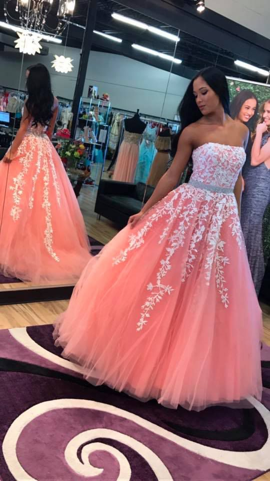 coral prom dress floral appliques