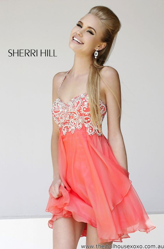 coral prom dress short