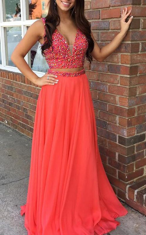 coral prom dress two pieced