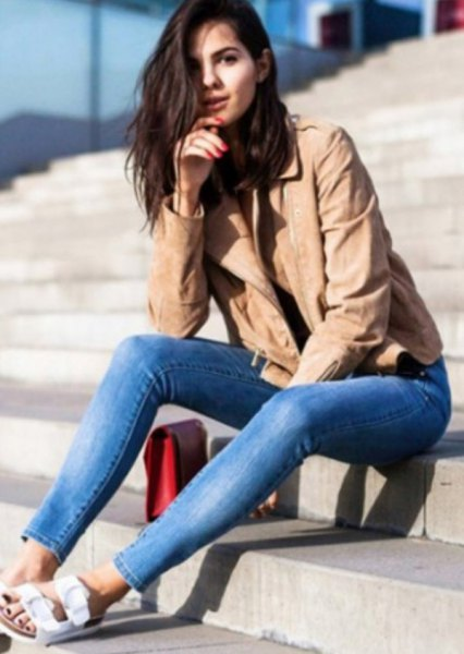 crepe leather jacket blue jeans