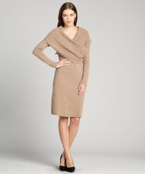 crepe wrap collar cashmere dress
