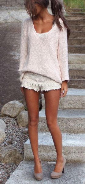 crochet shorts white v neck lace sweater
