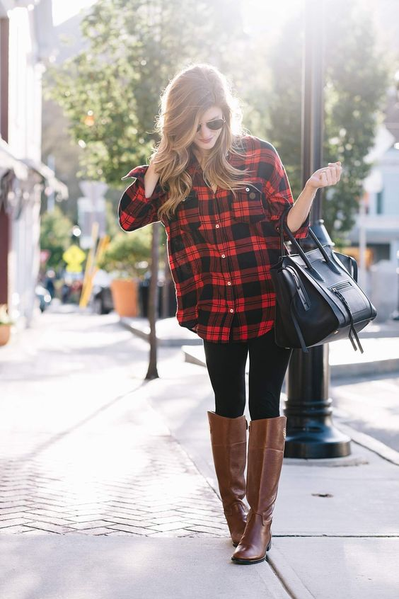 brown riding boots flannel shirt
