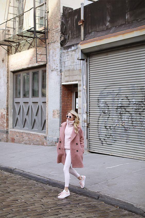 boucle coat white pink