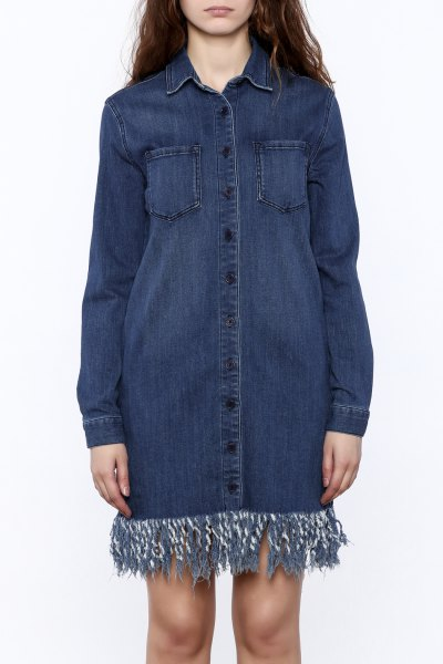 dark blue denim fringe shirt dress