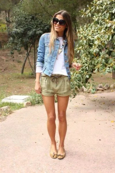 denim jacket crepe linen shorts