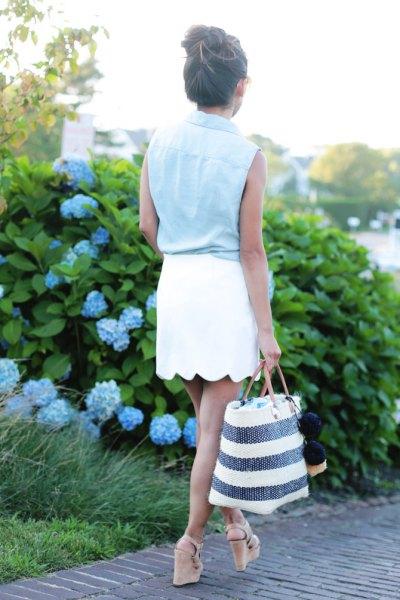 denim sleeveless shirt white mini skirt