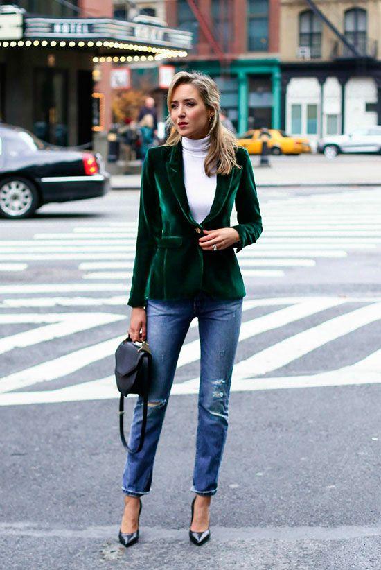 green blazer velvet