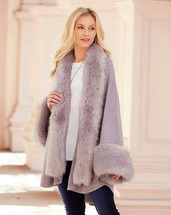 faux fur cape lilac