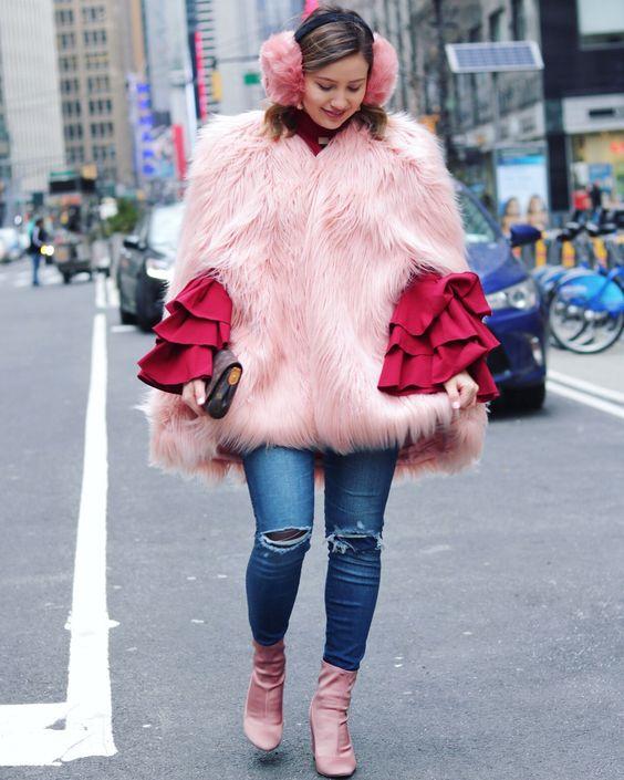 faux fur cape pink