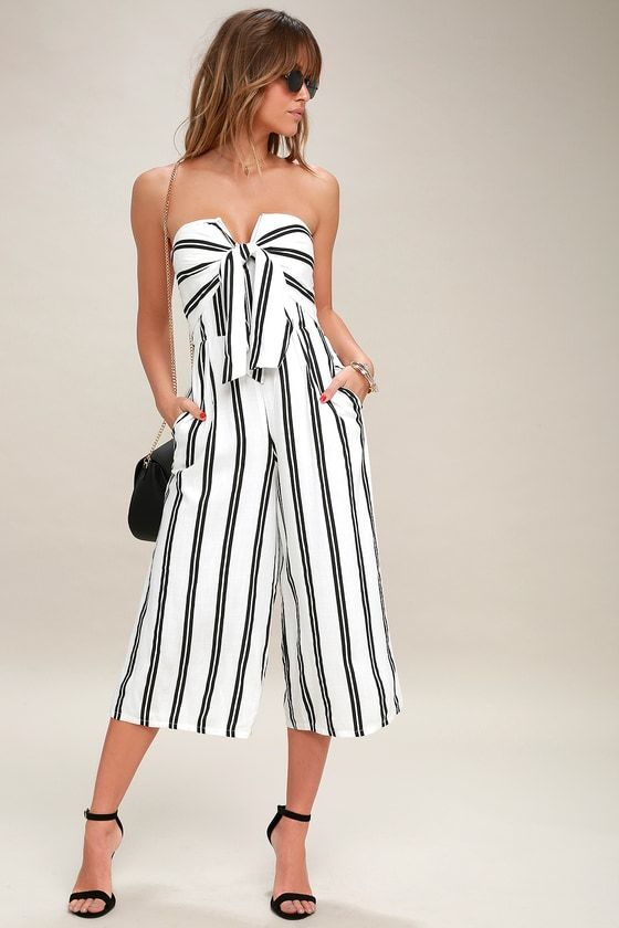 black and white jumpsuit strapless