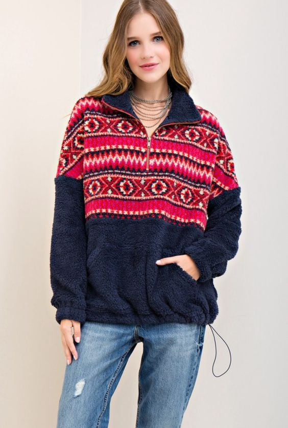 fleece pullover aztek