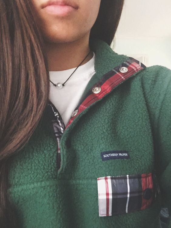 fleece pullover plaid
