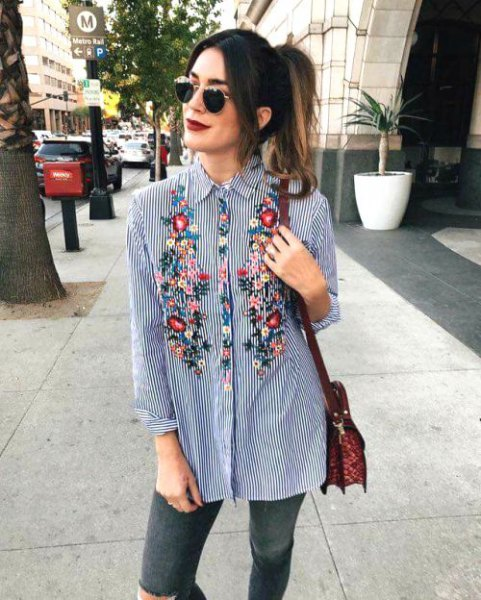 floral embroidered navy and white striped boyfriend shirt