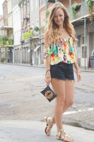floral off shoulder blouse black mini shorts
