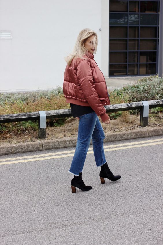 frayed bottom jeans puffer jacket