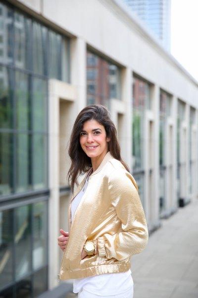 gold jacket white shift dress