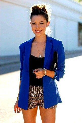 gold mini shorts royal blue blazer