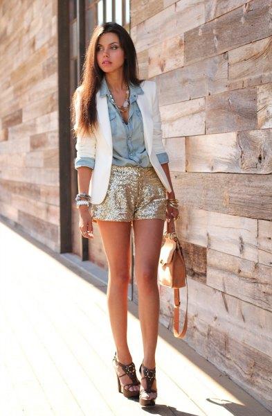 gold sequin shorts white blazer chambray shirt