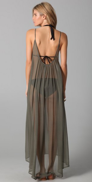 green backless chiffon semi sheer maxi cover up dress