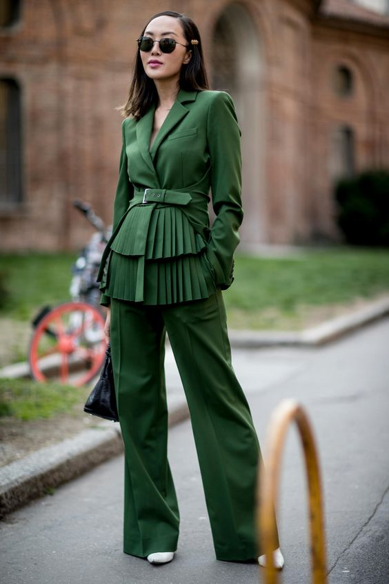 green blazer matchy look